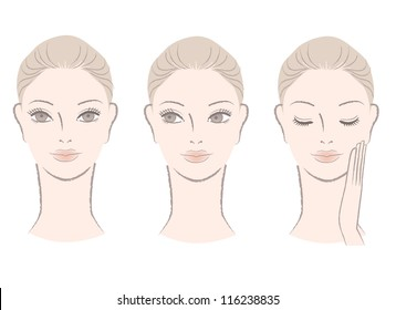 Set of Beautiful woman faces for skincare, beauty care, makeup sample. Woman portrait. Isolated on white. Hand-drawn like style.