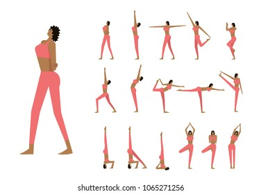 Set with beautiful woman in poses of yoga. flat character design. vector illustration