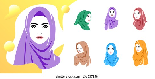 Set of beautiful woman wearing colorful hijab icon, logo isolated on white background, Muslim veil, vector illustration