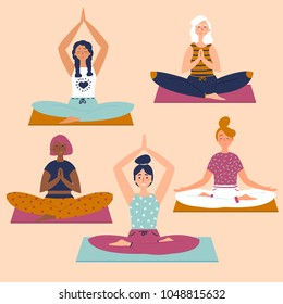 Set with beautiful women in lotus buddha asana pose of yoga. Vector set of exercises illustration. Five women sit on yoga mats. Helthy lifestyle. Sun greeting. Basic sctretching fitness. Flat style