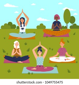 Set with beautiful women in lotus buddha asana pose of yoga. Vector set of exercises illustration. Five women sit on yoga mats outdoors. Helthy lifestyle. Sun, sky greeting. Yoga class