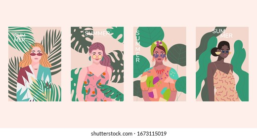 Set of  beautiful women on the background of exotic plants. Summer template.