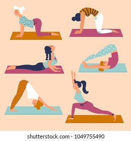 Set with beautiful women in various asana poses of yoga. Vector set of exercises illustration. Six women are taking yoga on mats. Healthy lifestyle. Different basic sctretching exercises. Flat style