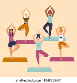 Set with beautiful women in vrkasana asana pose of yoga. Vector set of exercises illustration. Five women stand on yoga mats. Helthy lifestyle. Sun greeting. Basic sctretching exercise. Flat style