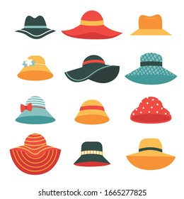 Set of beautiful women's summer hats.Hats with wide and narrow brims. A fashion accessory for a vacation at sea in hot countries .Flat vector illustration isolated on white background