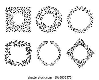 Set of beautiful wreath and frames. Vector round and  square elements with flourishes ornament decoration.