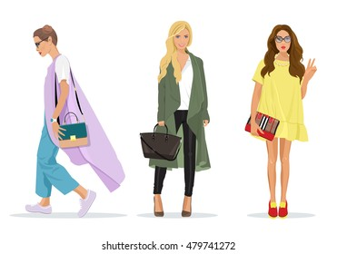 Set of beautiful young stylish women in fashion clothes with accessories. Detailed female characters. Fashion illustration.