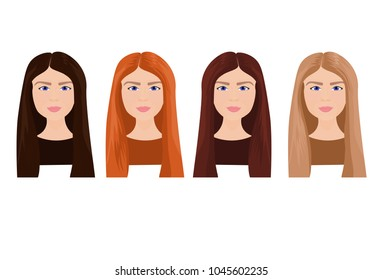Set Of Beautiful Young Woman Faces With Long Hair In Different Colors Isolated On White Background Vector Illustration