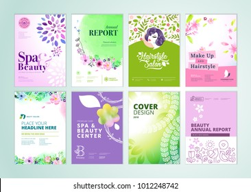 Set of beauty brochure, annual report, flyer design templates in A4 size. Vector illustrations for beauty, spa and wellness presentation, document cover and layout template designs.