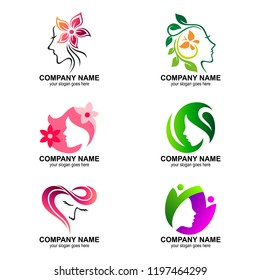 set of beauty and care logos