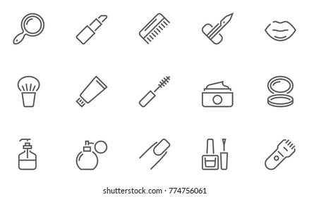 Set of Beauty and Cosmetic Vector Line Icons. Contains Icons Lipstick, Powder, Mascara, Comb and more. Editable Stroke. 48x48 Pixel Perfect.