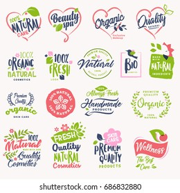 Set of beauty and cosmetics, spa and wellness badges and stickers. Vector illustration concepts for web design, packaging design, promotional material.
