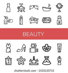 Set of beauty icons. Such as Dress, Hand wash, Incense, Deodorant, Sunglasses, Hot tub, Baby tub, Razor blade, Mirror, Vitamins, Logogram, High heels, Starfish , beauty icons