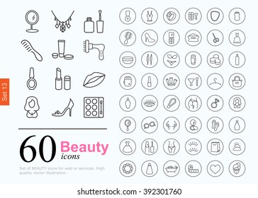 Set of beauty icons for web or services. 60 design female line icons high quality, vector illustration.