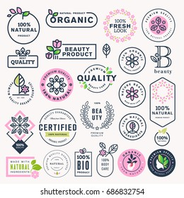 Set of beauty, natural cosmetics and healthcare labels and stickers. Vector illustration concepts for web design, packaging design, promotional material.