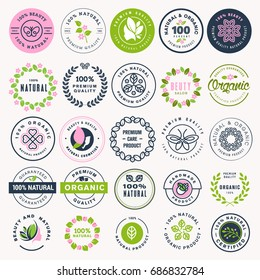 Set of beauty, natural cosmetics and healthcare stickers and badges. Vector illustration concepts for web design, packaging design, promotional material.