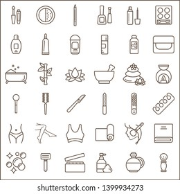 Set of beauty and spa Icons line style.  Contains such Icons as soap, massage, cleansing, make-up, nail care, yoga mat, flavored oil, hairbrush and more customize color, easy resize.