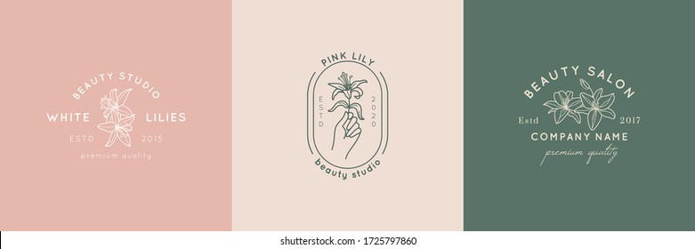 A set of beauty Studio logos in a minimalistic simple linear style. Vector emblems and Badges with a woman's hand and Lily flowers. Feminine icon for Studio a nail and hair salon, Spa