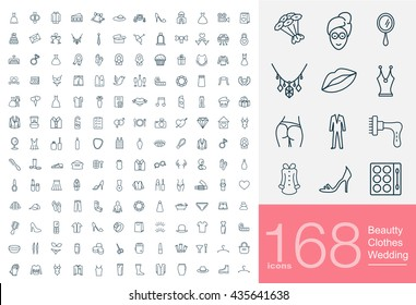Set of beauty, wedding and clothes icons for web or services. 168 line female icons high quality, vector illustration.