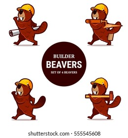 Set of beaver animal character with hammer, trowel and paper plan. Vector isolated.