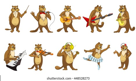 Set of beavers playing music, singing, dancing and listening to music. Beavers playing saxophone, guitar, synthesizer, violin, directing with baton. Vector illustration isolated on white background.