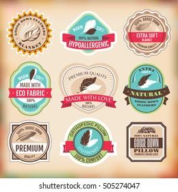 Set of bedding labels vector illustration
