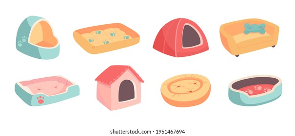 A set of beds for a pet, dog or cat. Flat vector illustration of goods for animals. Objects isolated on white background, cartoon style. Turquoise, yellow, red, pink colors