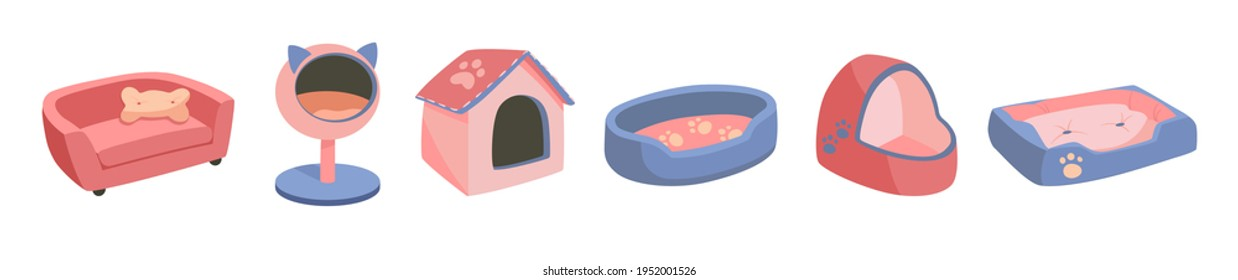 A set of beds for a pet, dog or cat. Flat vector illustration of goods for animals. Objects isolated on white background, cartoon style. Violet, pink, golden colors