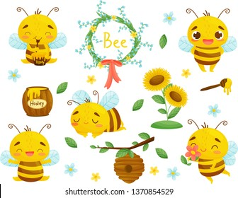 Set of bee, honey and other beekeeping illustration. Vector. Cartoon.