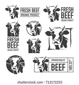 Set of beef logo. Butchery labels. Cow icons for groceries, meat stores, packaging and advertising