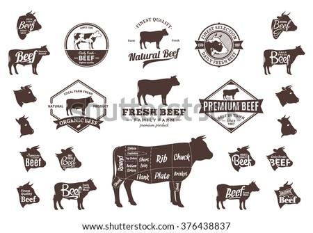 Set Beef Logo Beef Cuts Diagram Stock Vector Royalty Free