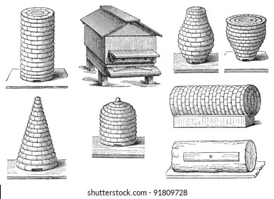 Set of beehives / illustrations from Meyers Konversations-Lexikon 1897
