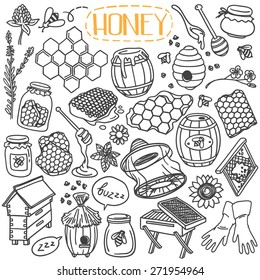 Set of beekeeping theme doodles, simple hand drawn sketch style vector illustrations isolated over white background