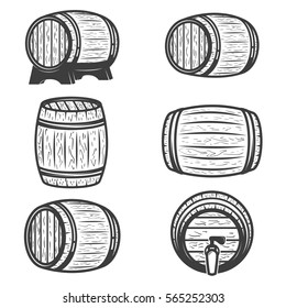 Set of beer barrels isolated on white background. Design elements for logo, label, emblem, sign, brand mark. Vector illustration