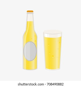 Set of beer bottle and glass. Vector icon with alcoholic beverages. Wheat beer, lager, craft beer, ale.