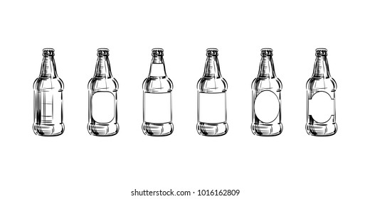Set of Beer bottle mockup. Different shapes Blank Label, Glass container with a drink, hand-drawn lines sketch. Template, Illustration for a brewery, production, design, product presentation. Vector