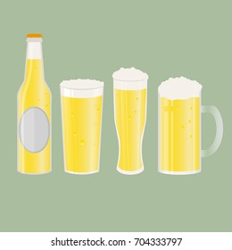 Set of beer bottle, mugs and glasses. Vector icon with alcoholic beverages. Wheat beer, lager, craft beer, ale.