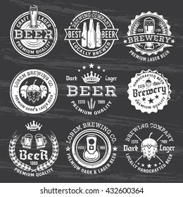 Set of beer and brewery vector white emblems, labels and badges isolated on dark chalkboard with removable grunge texture.