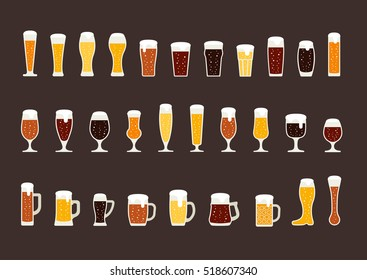 Set of beer with bubbles in glasses and mugs. Vector
