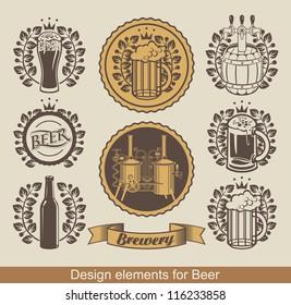 set of beer emblem with laurel wreath