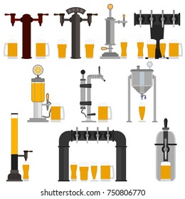 Set of beer equipment for bar including beer pump, dispenser with tap and handle and with set full glass beer mugs with foam. Pouring in beer glasses. Vector drawing. Illustration isolated flat icons.