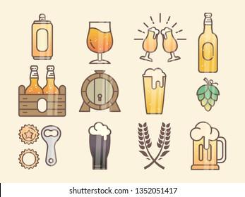 Set of beer glass, mug, barrel, bottle, and hop. minimal flat vector illustration of different types of beers. Oktoberfest equipment. Restaurant illustration.