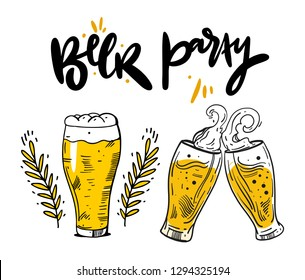 A set of beer glasses and beer mugs hand drawn vector illustration. Isolated on background.