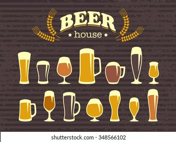 A set of beer glasses and beer mugs icons. Vintage style. A poster and a bar menu. Vector design elements for printing and web