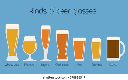 Set of beer glassware. Cool minimal flat vector illustration. Wheat beer, lager, craft beer, ale, stout