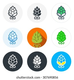Set of beer hop icons in different styles isolated on white background.