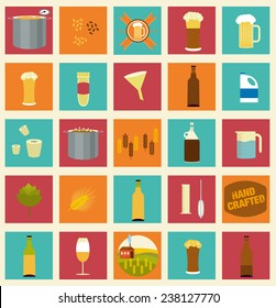 The set of beer icons for your design. Home brewing, crafted beer. Colorful vector illustration. Elements of brewing process. Home made alcohol drinks.
