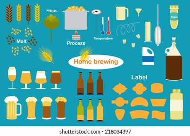 The set of beer info graphics for your design. Home brewing, crafted beer. Colorful vector illustration. Elements of brewing process. Home made alcohol drinks.