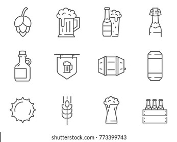 Set of Beer line vector icons.