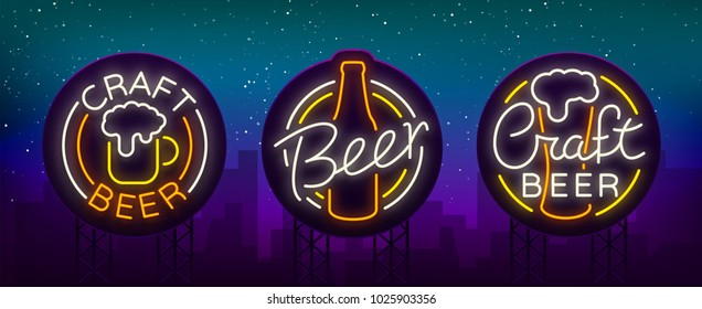 Set of beer logo, neon signs, logos of emblem in neon style, vector illustration. For the beer house bar pub, brewery. Night beer advertising, neon glowing bright sign. Billboard